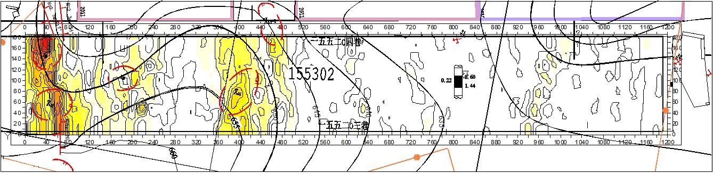 155302综采工作面无线电波透视法探测结果与验证结果对比图